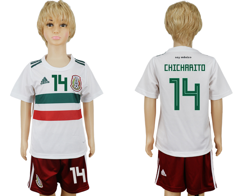 Mexico 14 CHICHARITO Away Youth 2018 FIFA World Cup Soccer Jersey