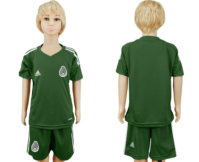Mexico Army Green Goalkeeper Youth 2018 FIFA World Cup Soccer Jersey