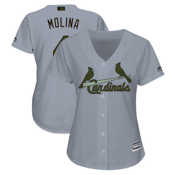 Cardinals 4 Yadier Molina Gray Women 2018 Memorial Day Cool Base Jersey