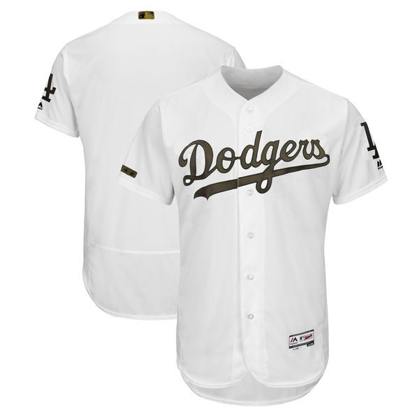 Dodgers Blank White 2018 Memorial Day Flexbase Jersey