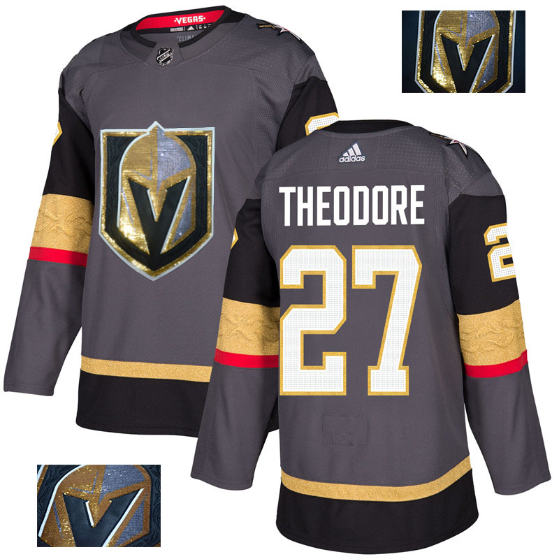 Vegas Golden Knights 27 Shea Theodore Gray With Special Glittery Logo Adidas Jersey