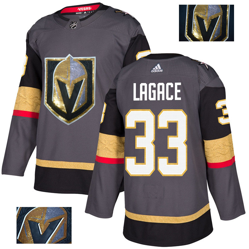 Vegas Golden Knights 33 Maxime Lagace Gray With Special Glittery Logo Adidas Jersey