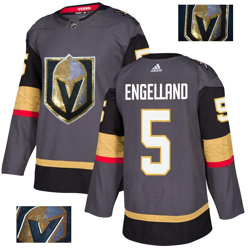 Vegas Golden Knights 5 Deryk Engelland Gray With Special Glittery Logo Adidas Jersey