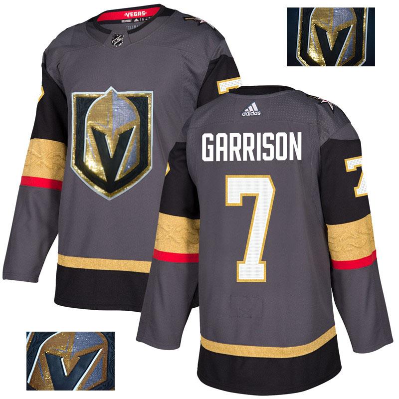 Vegas Golden Knights 7 Jason Garrison Gray With Special Glittery Logo Adidas Jersey