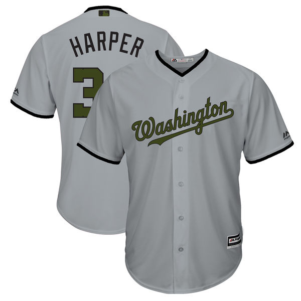 Washington 34 Bryce Harper Gray 2018 Memorial Day Cool Base Jersey