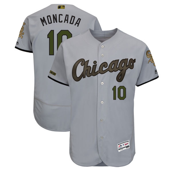 White Sox 10 Yoan Moncada Gray 2018 Memorial Day Flexbase Jersey