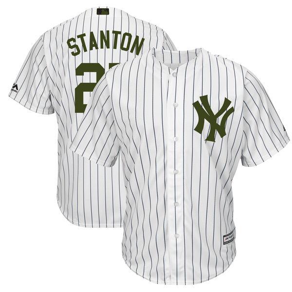 Yankees 27 Giancarlo Stanton White 2018 Memorial Day Cool Base Jersey