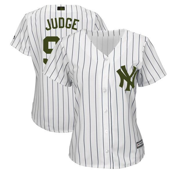 Yankees 99 Aaron Judge White Women 2018 Memorial Day Cool Base Jersey