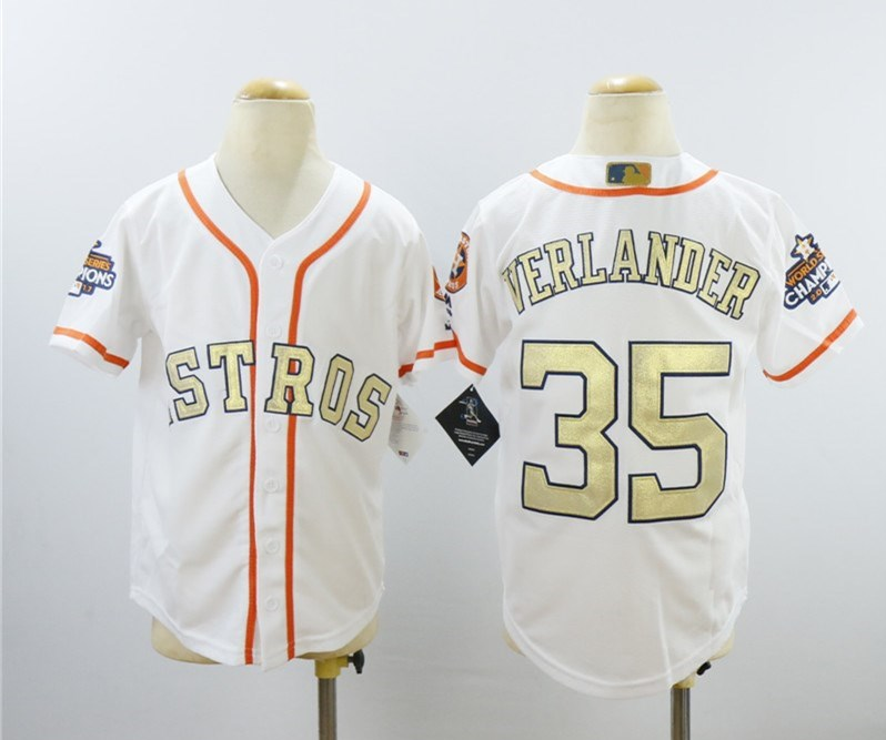 Astros 35 Justin Verlander White Youth 2018 Gold Program Cool Base Jersey