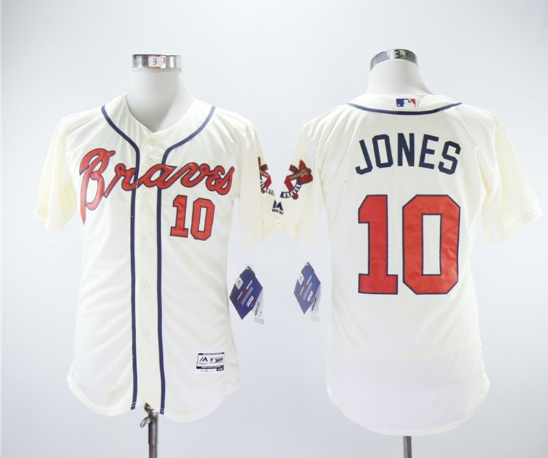 Braves 10 Chipper Jones Cream Flexbase Jersey