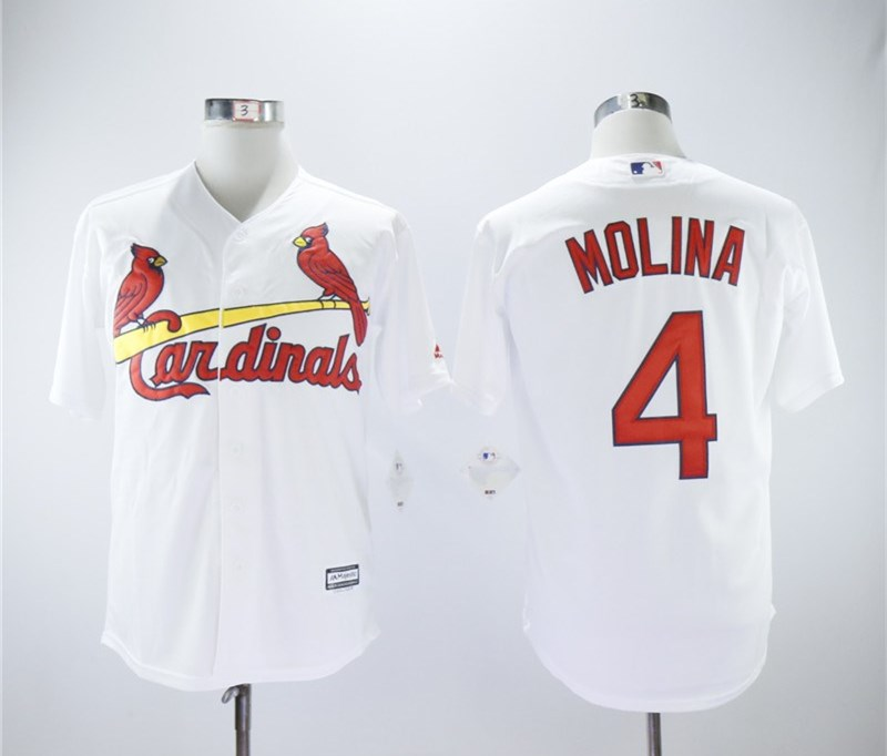 Cardinals 4 Yadier Molina White Cool Base Jersey