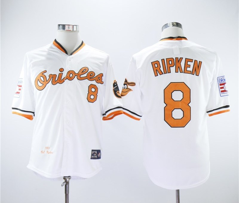 Orioles 8 Cal Ripken Jr White 1989 Throwback Jersey