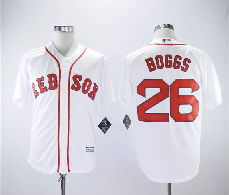 Red Sox 26 Wade Boggs White Cool Base Jersey