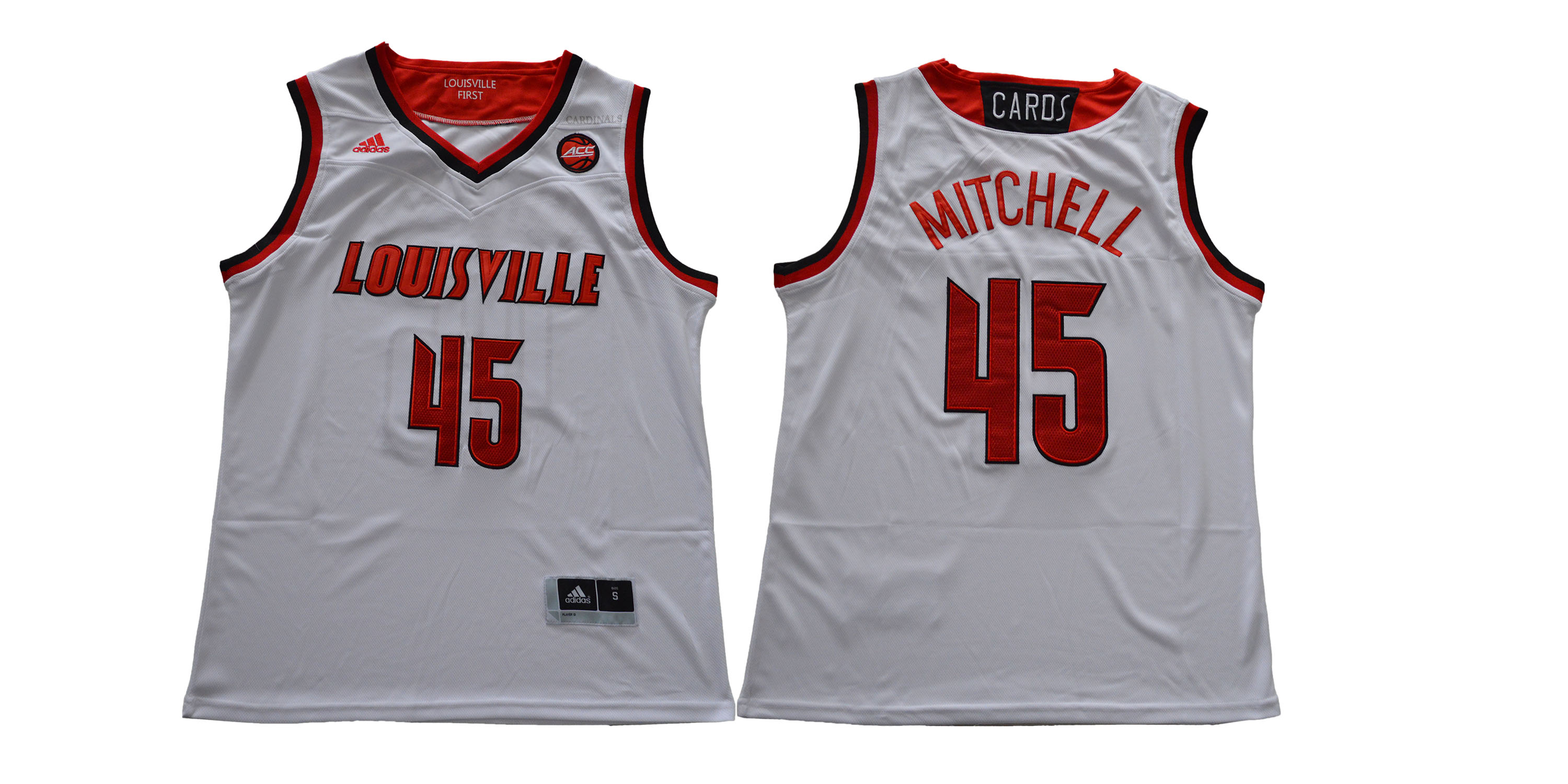 Louisville Cardinals 45 Donovan Mitchell White College Basketball Jersey