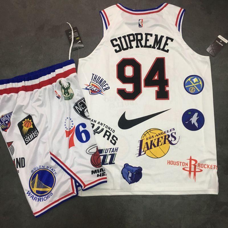 Supreme x Nike x NBA Logos White Stitched Basketball Jersey(With Shorts)