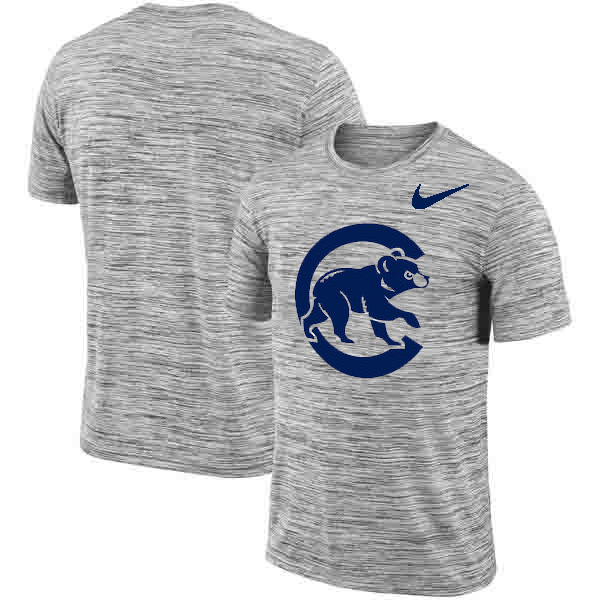 Chicago Cubs Nike Heathered Black Sideline Legend Velocity Travel Performance T-Shirt