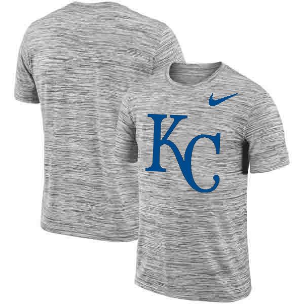 Kansas City Royals Nike Heathered Black Sideline Legend Velocity Travel Performance T-Shirt