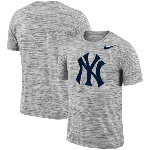 New York Yankees Nike Heathered Black Sideline Legend Velocity Travel Performance T-Shirt
