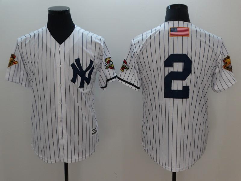 Yankees 2 Derek Jeter White 2001 World Series Cool Base Jersey