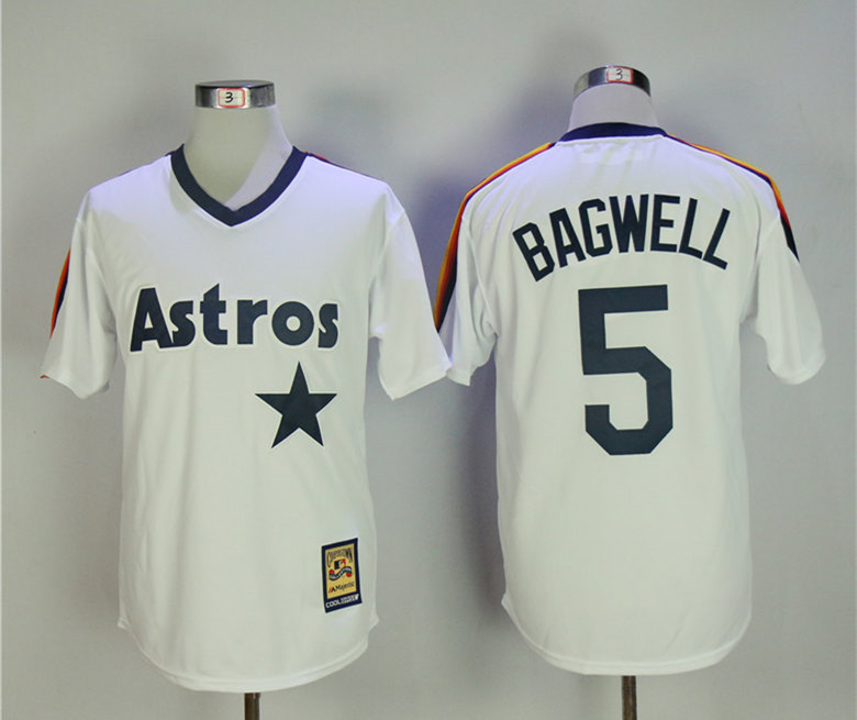Astros 5 Jeff Bagwell White Cooperstown Collection Jersey