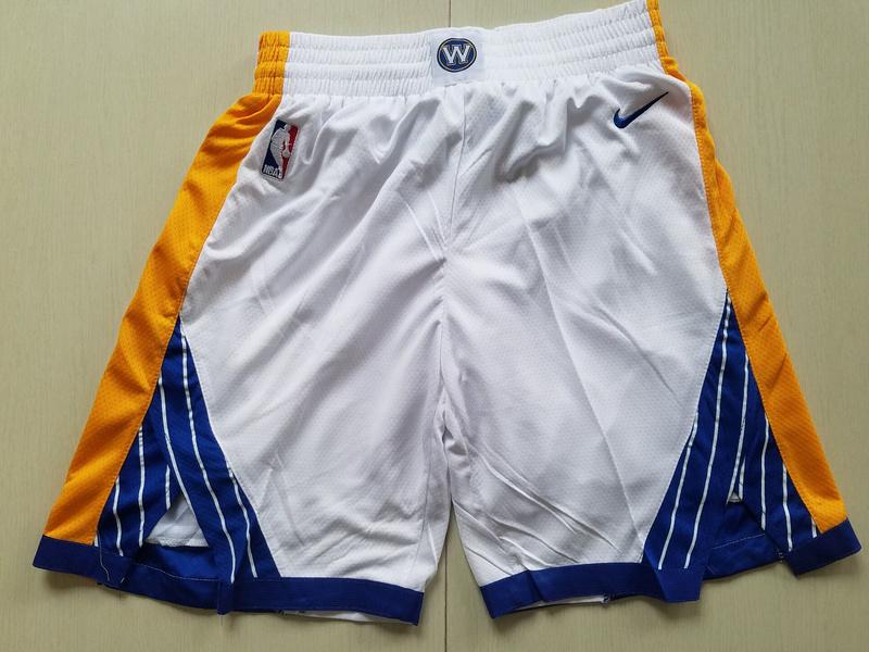 Warriors White Nike Swingman Shorts