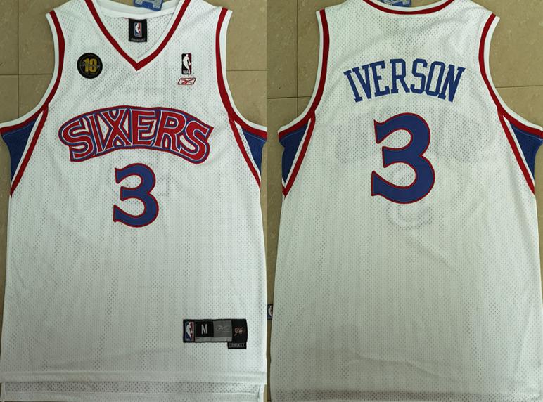 76ers 3 Allen Iverson White 10th Anniversary Reebok Jersey