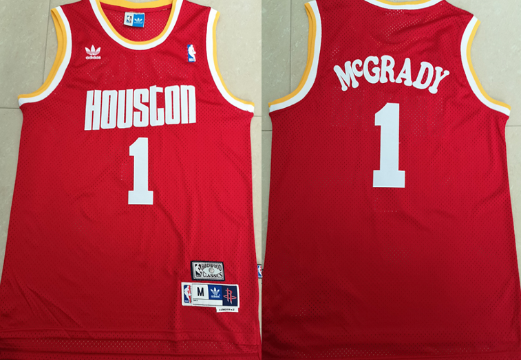 Rockets 1 Tracy McGrady Red Hardwood Classics Jersey