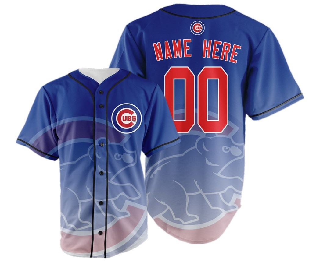 Chicago Cubs Big Logo Print Men's All Stitched Customized Jersey