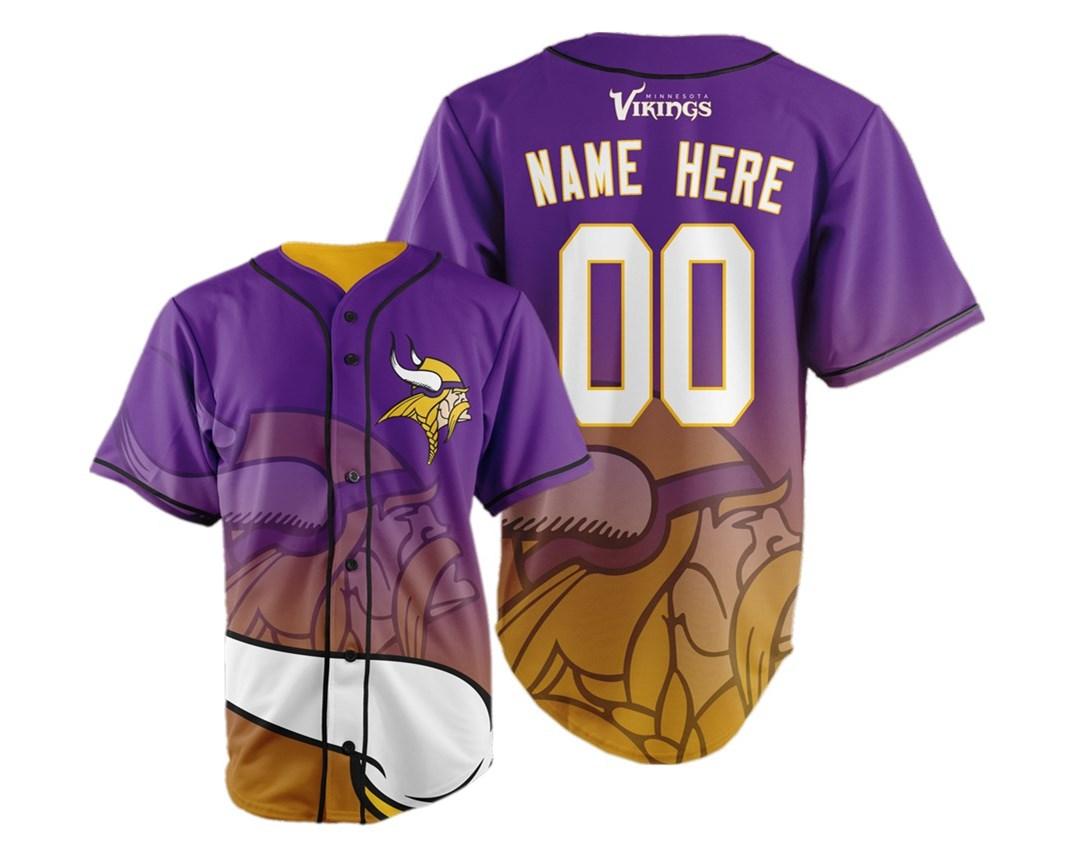Minnesota Vikings Big Logo Print Men's All Stitched Customized Jersey