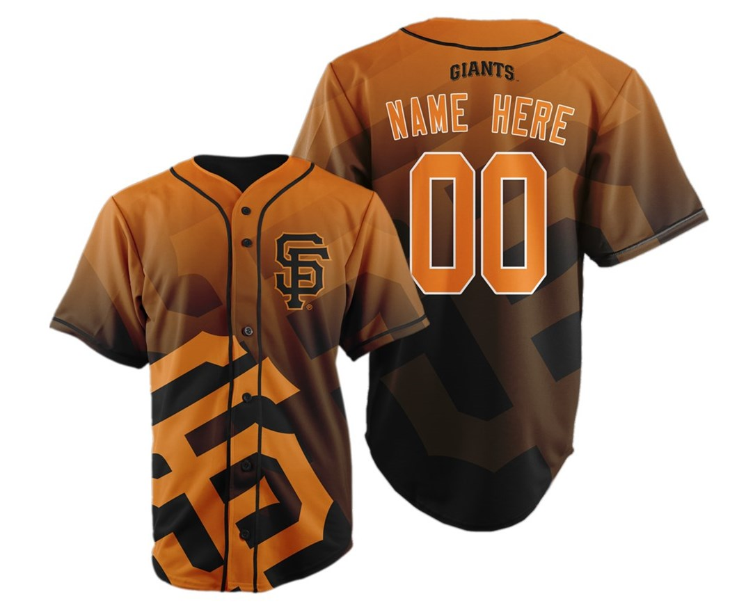 San Francisco Giants Big Logo Print Men's All Stitched Customized Jersey