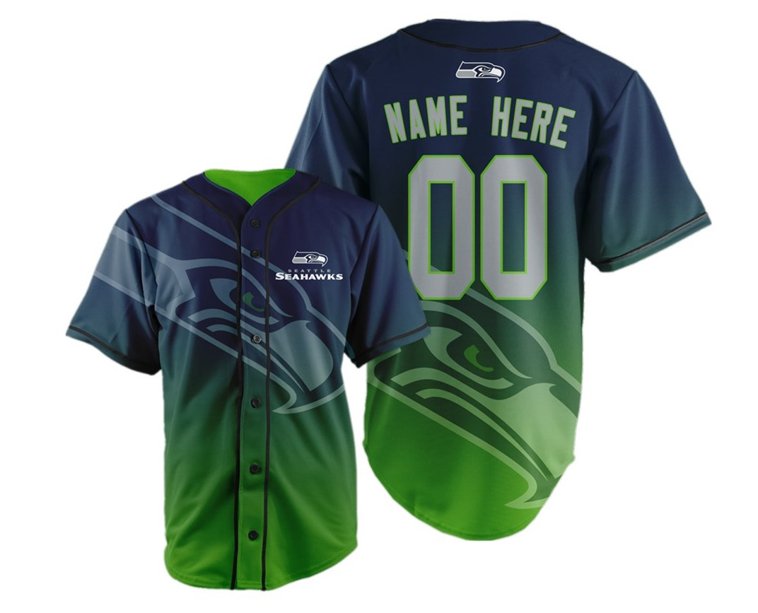 Seattle Seahawks Big Logo Print Men's All Stitched Customized Jersey
