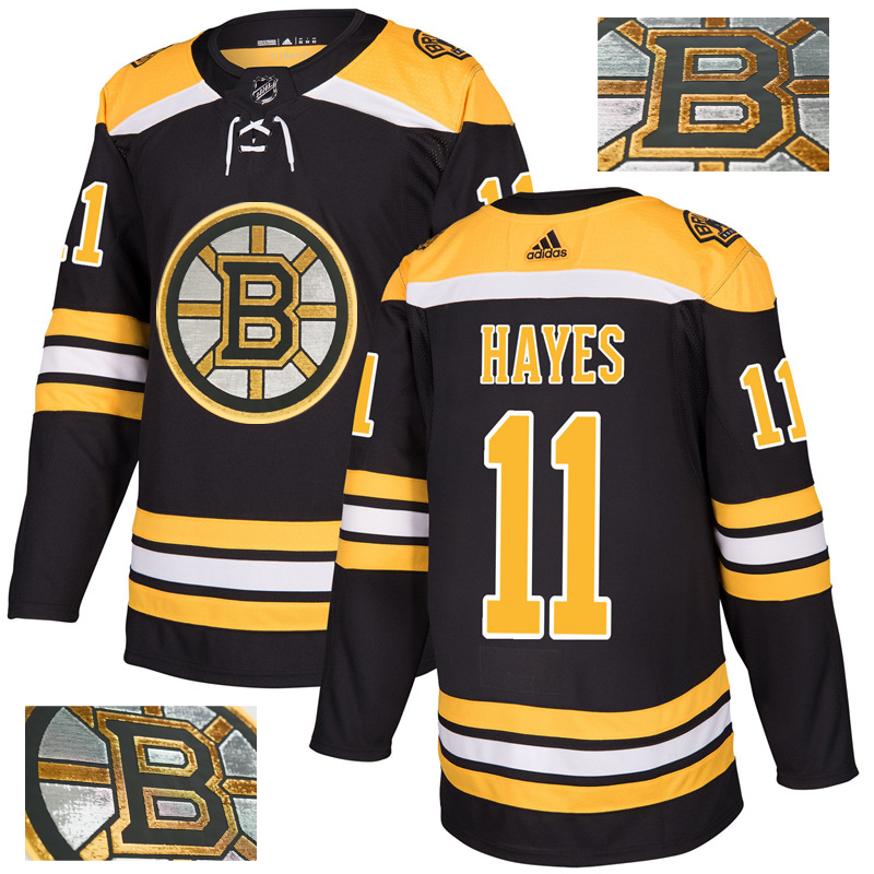 Bruins 11 Jimmy Hayes Black With Special Glittery Logo Adidas Jersey