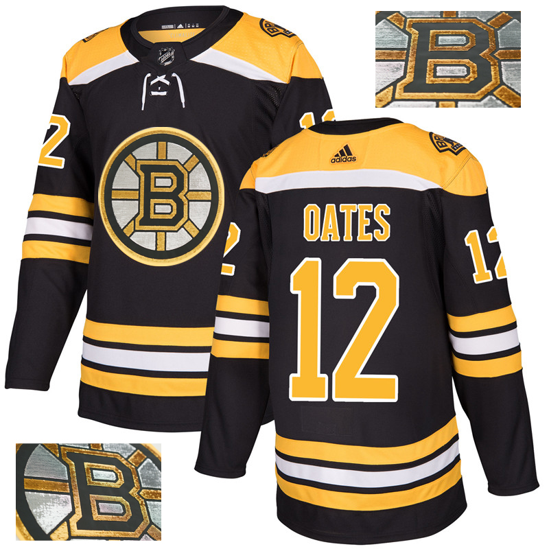 Bruins 12 Adam Oates Black With Special Glittery Logo Adidas Jersey