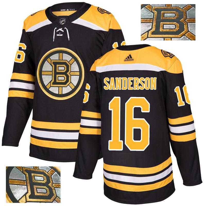 Bruins 16 Derek Sanderson Black With Special Glittery Logo Adidas Jersey