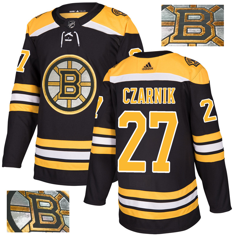 Bruins 27 Austin Czarnik Black With Special Glittery Logo Adidas Jersey