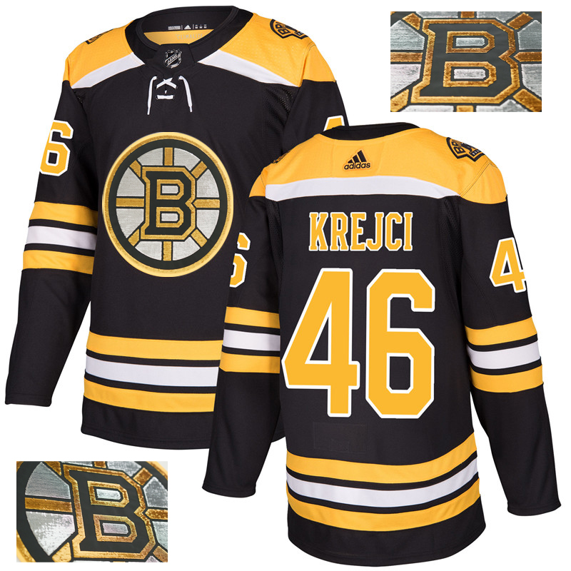 Bruins 46 David Krejci Black With Special Glittery Logo Adidas Jersey