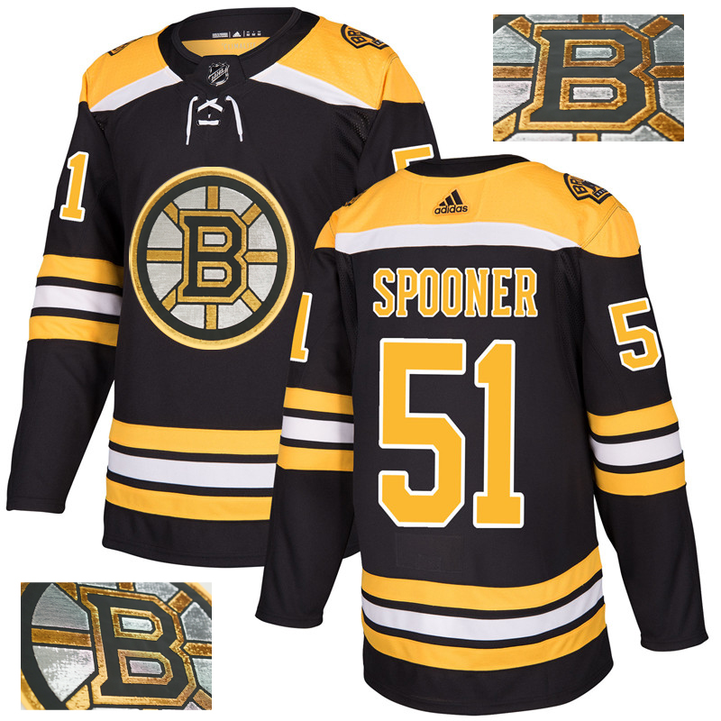 Bruins 51 Ryan Spooner Black With Special Glittery Logo Adidas Jersey