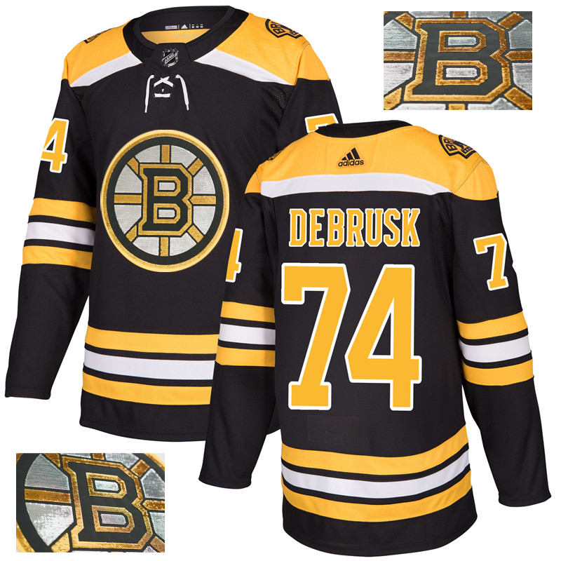 Bruins 74 Jake DeBrusk Black With Special Glittery Logo Adidas Jersey