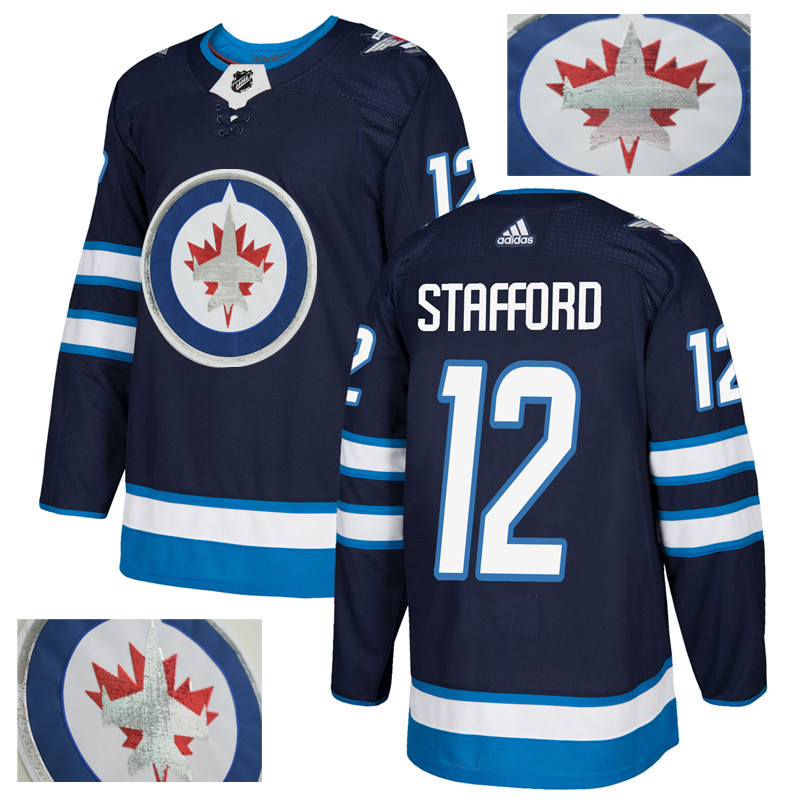 Jets 12 Drew Stafford Navy With Special Glittery Logo Adidas Jersey