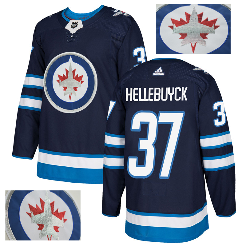 Jets 37 Connor Hellebuyck Navy With Special Glittery Logo Adidas Jersey