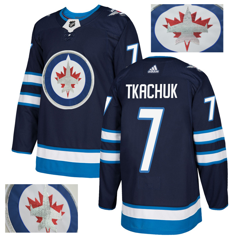 Jets 7 Keith Tkachuk Navy With Special Glittery Logo Adidas Jersey