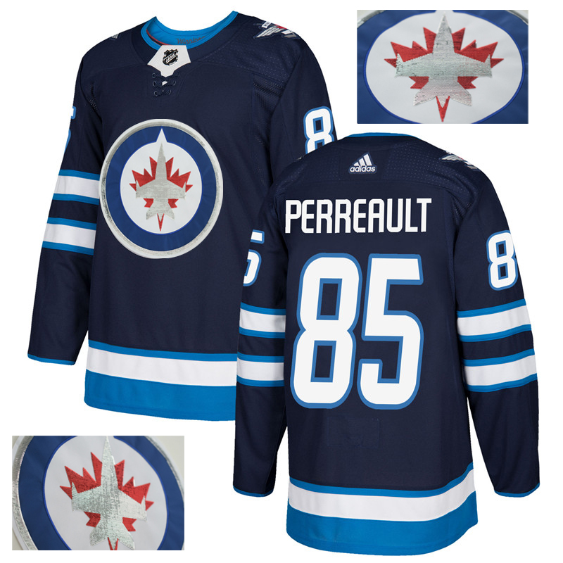 Jets 85 Mathieu Perreault Navy With Special Glittery Logo Adidas Jersey