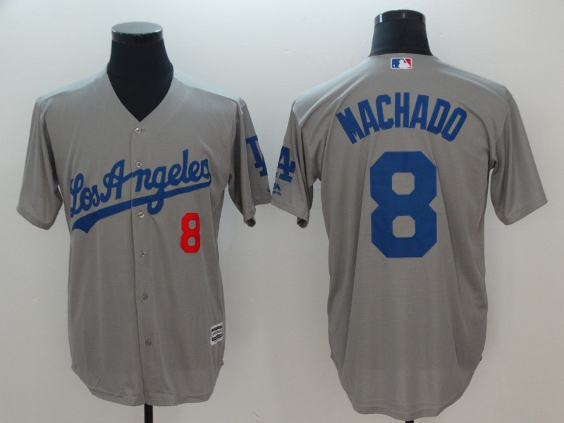 Dodgers 8 Manny Machado Gray Cool Base Jersey