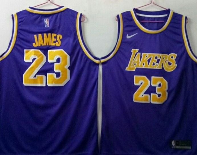 Lakers 23 Lebron James Purple Nike Swingman Jersey