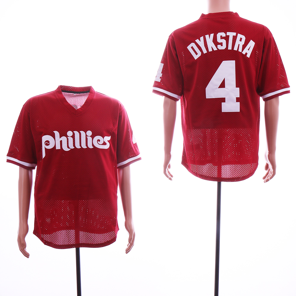 Phillies 4 Lenny Dykstra Red Mesh BP Jersey