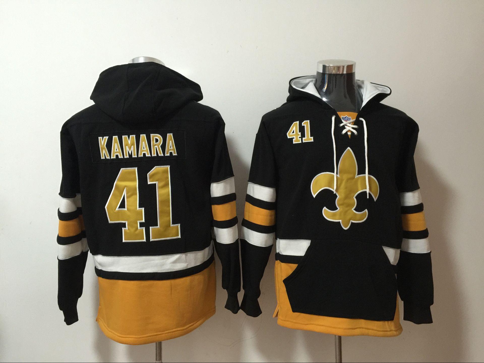 Nike Saints 41 Alvin Kamara Black All Stitched Hooded Sweatshirt