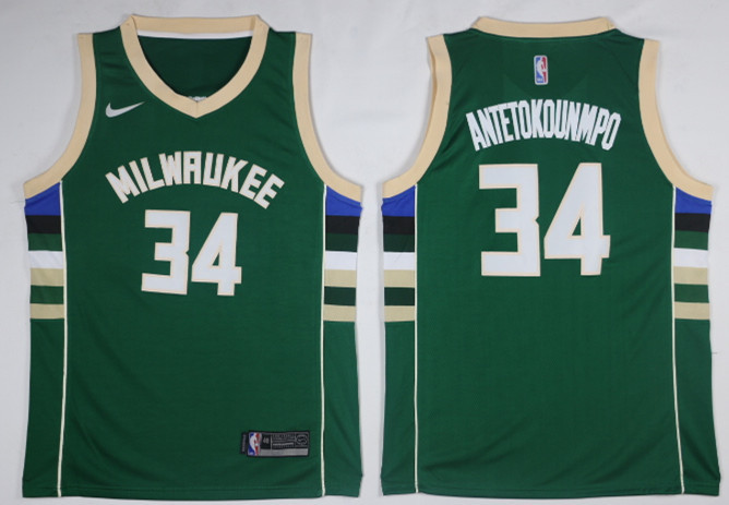 Bucks 34 Giannis Antetokounmpo Green Nike Swingman Jersey