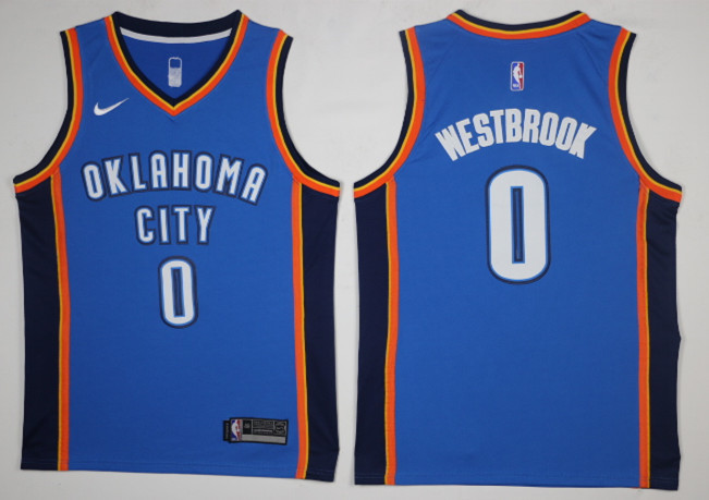 Thunder 0 Russell Westbrook Blue Nike Swingman Jersey