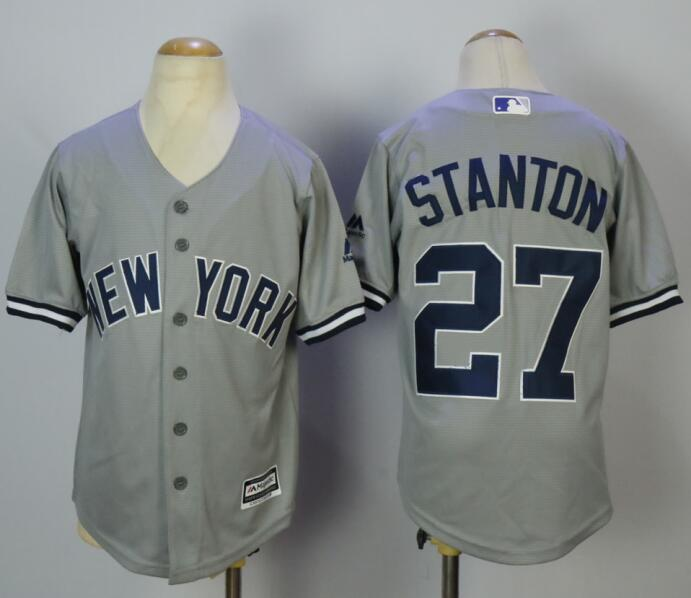 Yankees 27 Giancarlo Stanton Gray Youth Cool Base Jersey