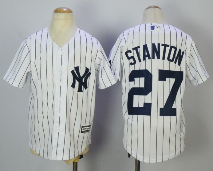 Yankees 27 Giancarlo Stanton White Youth Cool Base Jersey